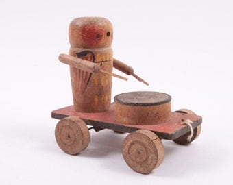 Antique Pull Toy Drummer Made of Wood Very Cool ~ The Pink Room ~ 170201