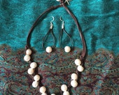 Custom Listing for Beckie Pearls and Leather Necklace and Earrings