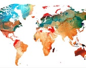 World Map Art Print from Painting White Red Aqua Travel Earth Maps Abstract Colorful CANVAS Ready To Hang Large Artwork Big Country Artwork