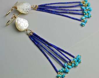 Lapis and Turquoise Tassel Earrings. Carved Mother of Pearl Floral Bead. Long Earring.