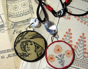 Handmade Mixed Media Wood Pendants Necklace Antique Ephemera Dutch Embroidery Lady and Flowers Original OOAK 1900s
