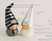 wedding cake topper- fairy tale gnome and princess bride- handmade Bea's Wees original figurines
