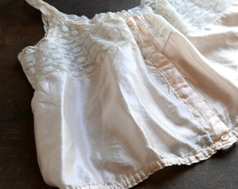 Pale Pink Silk and Bobbin Lace Camisole S