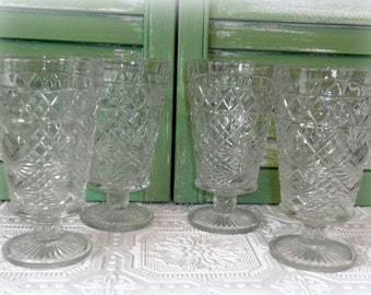Vintage Hazel Atlas Big Top Peanut Butter Glasses / Tumblers, Vintage Kitchen Decor, Retro Glassware