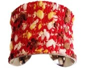 Red Fabric Knit Tweed and Leather Cuff Bracelet - by UNEARTHED