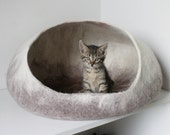 Pet / Dog / Cat Bed / Cave / House / Vessel - Hand Felted Wool - Tan Stone - Crisp Contemporary Design