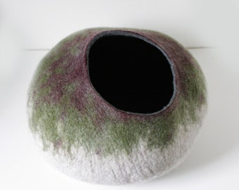 Cat Cave / Bed / House / Vessel - Hand Felted Wool - Camouflage Bubble - Crisp Contemporary Design -- READY TO SHIP
