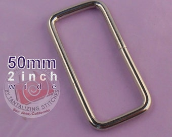 15 Pieces Wire-Formed Rectangle Rings - 2 inch / 50mm wide in nickel finish