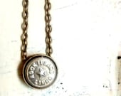 Vintage rock island railroad uniform button  necklace jewelry  vintage repurposed  coat button authentic memorabilia