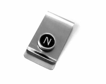 Custom money clip with your initial typewriter key letter guys you choose type key