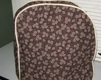 Kitchen aid mixer cover in browns and taupes leafy design