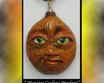 Handmade Fantasy Pumpkin face pendant wearable Art Polymer Clay OOAK sculpture