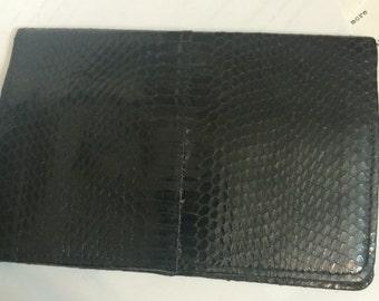 Vintage Black Authentic Snakeskin Large Bifold Wallet
