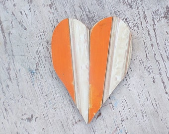Wood Mosaic Heart, Nursery Decor Reclaimed Wood Art Pink Heart Recycled Wood Wall, Orange Heart Wooden Heart Wood Anniversary Gift
