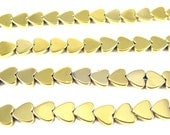 Gold Electroplated Hematite Heart Beads - (30x) (NS623)