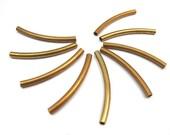 Long Red Brass Bent Tube Bead (8X) (V279)