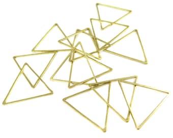 Raw Brass Triangle Shape Wire Charms (20x) (K217-A)