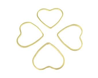 Raw Brass Heart Shape Wire Charms (24x) (K218-A)
