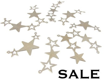Vintage Rhodium Plated Star Pendants (8X) (V334) SALE - 25% off