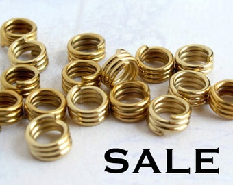 Vintage Gold Plated Spiral Wire Tube Beads (40X) (V335) SALE - 25% off