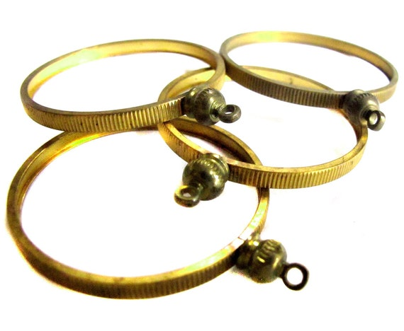 Vintage Raw Brass Half Dollar Coin Holder Pendants (4X) (V339)
