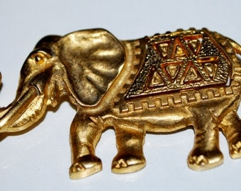 Vintage Gold Metal Elephant Brooch Pin Decorative Indian Ritual Ceremonial