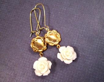 Flower Earrings, Cream White Rose, Gold Dangle Earrings, FREE Shipping U.S.