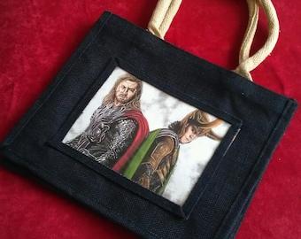 Jute Shopping Bag with Avengers A5 size insert print. Loki. Thor. Tom Hiddleston. Chris Hemsworth. Asguard.