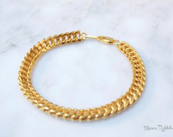 FINAL  SALE Mothers Day Gift 24K Gold Plated Bracelet, Chain Bracelet, Gold Chain, Gold Plated Jewelry