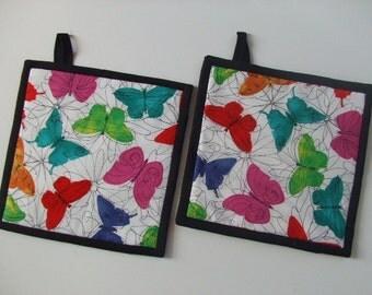 Fabric Potholders - Butterflies - Set of 2