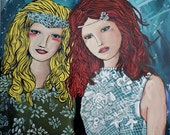 MOVING SALE Fashion portrait of two best friends sisters or twins with a blue background