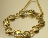 Vintage/ estate 1960s Spanish, Egyptian damascene, blackened steel and k24 gold costume bracelet, jewelry jewellery