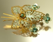 Vintage/ estate 1940s / 50s gold tone filigree and pale blue paste/ glass, flower costume brooch/ pin - jewelry jewellery