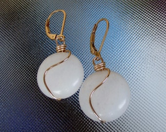 White Jade rounds 14k gold filled wire wrapped earrings