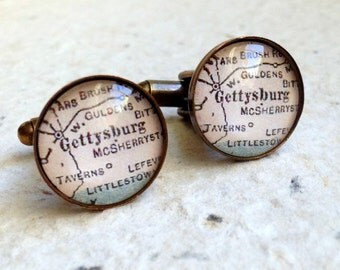 Gettysburg, Pennsylvania Map Cufflinks - YOU pick your map from 16 maps Great groomsmen gift - Map Cuff Links
