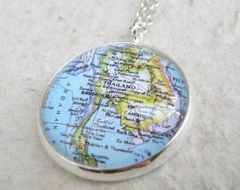 Thailand Map Necklace - Featuring Bangkok, Phuket, Laos, Cambodia, and more of Southeast Asia - Custom Map Jewelry