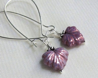Lavender Maple Leaf Earrings, Long Silver Kidney Wires, Sugar Frosted Lilac Glass, Wire Wrapped Leaves Purple Earrings