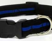 The Thin Blue Line Black and Royal Blue Line Handmade Dog Collar