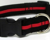 Firefighters Thin Red Line Of Courage Handmade Dog Collar