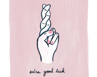 extra good luck (Fingers Crossed) good luck charm/good luck gift. Archival quality giclee fine art print of original painting 8x10 Wall Art