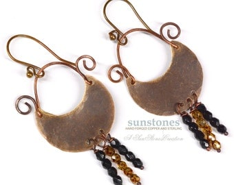 Hammered Rustic Mixed Metal Earrings E896