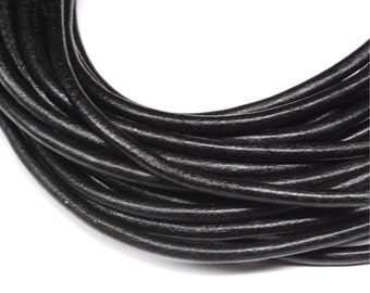 Black Rolled Leather 5mm diameter