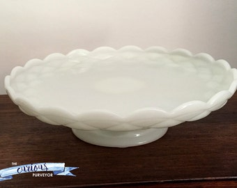 Large scalloped milk glass cake stand plate