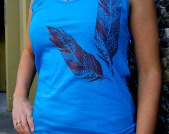 Feather Neon Heather Blue Tank Top Women