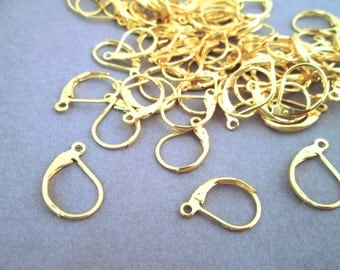 Gold Plated Leverback Earring Hooks, pick your amount, C92