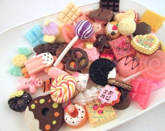 25pc Large size mixed  decoden sweets kawaii cabochons, (25-30mm)