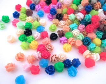 100 multicolor 7.5mm rose cabochons, round flower cabs