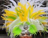 Tahitian costume, dance headpiece in white, lemon yellow and lime green, extra large headpiece, headdress, polynesian