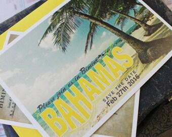 Vintage Travel Postcard Wedding Invitation (Bahamas)