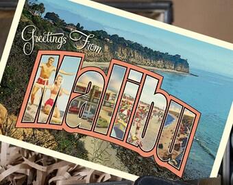 Vintage Large Letter Postcard Save the Date (Malibu, California) - Design Fee